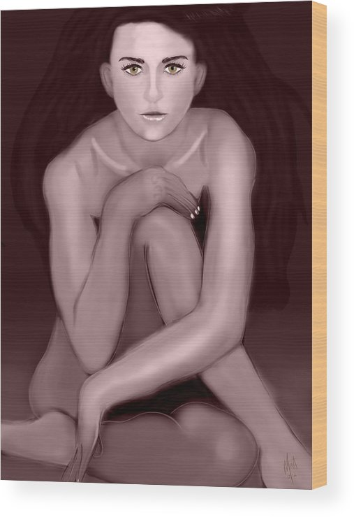 Demi Moore Wood Print featuring the digital art Demi Moore Old Style by Mathieu Lalonde
