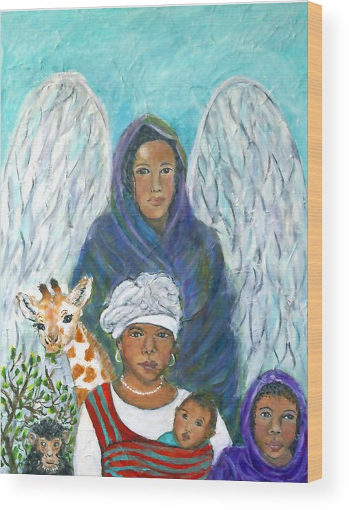 Angel Wood Print featuring the painting For The Love Of Charlotte by The Art With A Heart By Charlotte Phillips