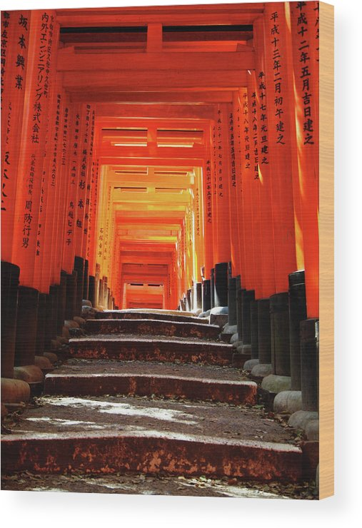 Japan Wood Print featuring the photograph Fushimi Inari Shrine Pic.1 by Oleg Volkov