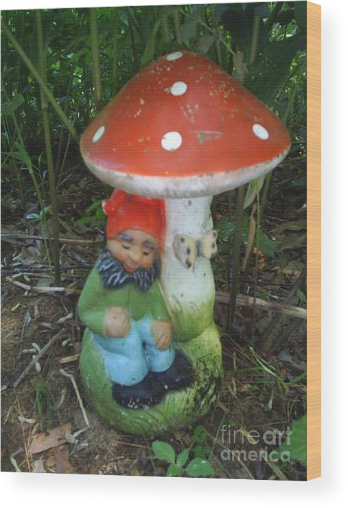 Garden Gnome Under Mushroom Wood Print featuring the photograph Garden Gnome Under Mushroom by Jeannie Atwater Jordan Allen