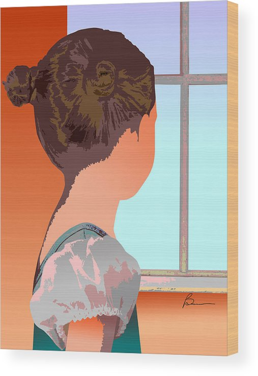 Female Girl People Scene Wood Print featuring the digital art Girl At Window by Richard Brown