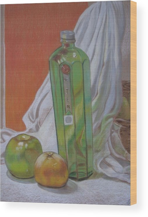 Green Bottles Wood Print featuring the painting Green Bottle And Fruit. by Meera Raman