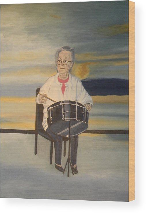 Halifax Explosion Survivor Portrait Drums Wood Print featuring the painting Halifax Explosion Survivor by Edith Ross