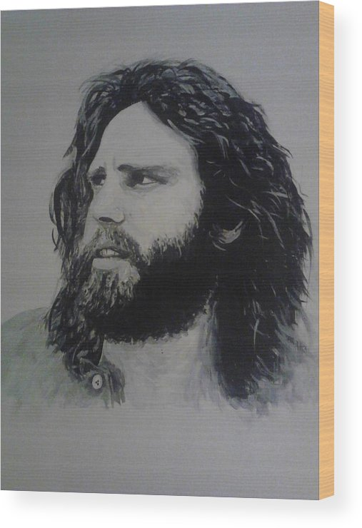 Jim Morrison Acrylia Painting Portrait Musician Black And White Wood Print featuring the painting Jim Morrison Last Year Of Life by William McCann