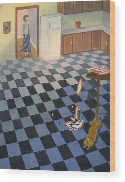Surprise Kitchen Cat Broken Dishes Tiles Wood Print featuring the painting Life's Little Surprises by Edith Ross
