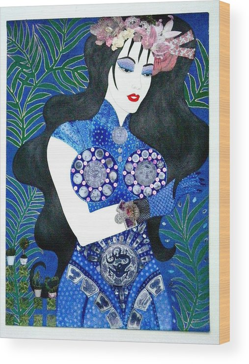 Asian Wood Print featuring the painting Ma Belle Salope Chinoise No.11 by Dulcie Dee
