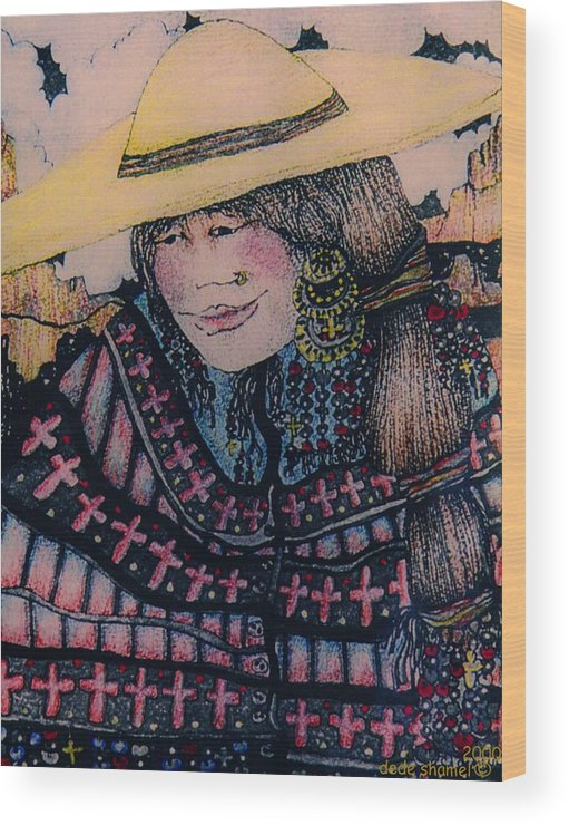 Country Wood Print featuring the painting Mirage Girl by Dede Shamel Davalos