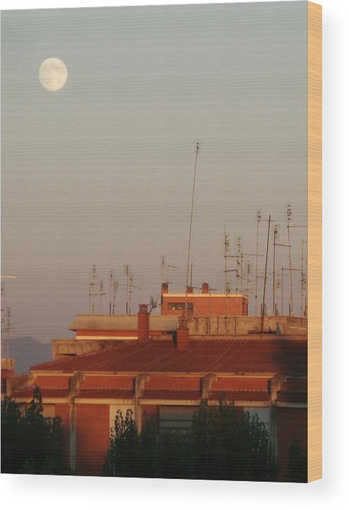 Moon Sight At Sunset In San Basilio Block Wood Print featuring the photograph Moon Sight At Sunset by Luca Rosa