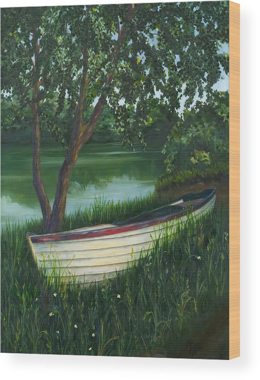Boat Wood Print featuring the painting Mount Falcon Cove Ireland by Judith Koppes