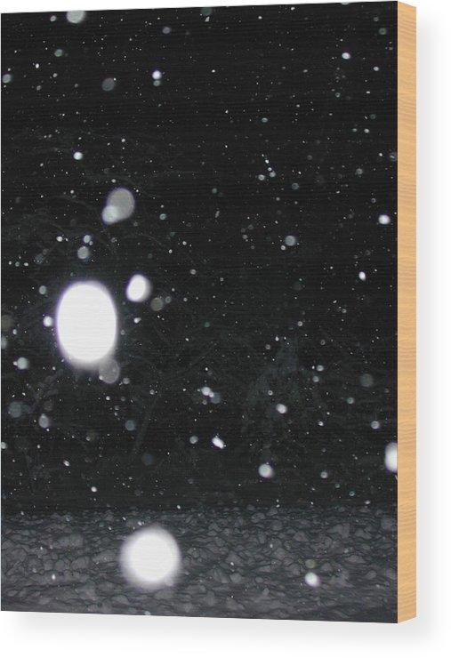 Night Wood Print featuring the photograph Night Snow Falling by Carol Lloyd