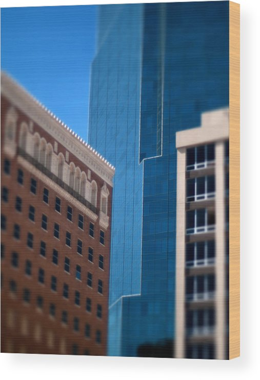 Windows Photographs Wood Print featuring the photograph Old And New In Fort Worth by Jon Herrera
