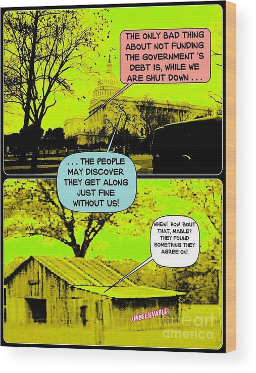 Cartoon Wood Print featuring the digital art On The Bright Side 2 Agreement by Karen Francis