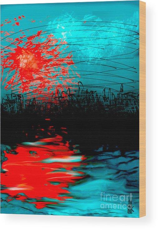 Landscape Wood Print featuring the digital art Orangeburst by J Kinion