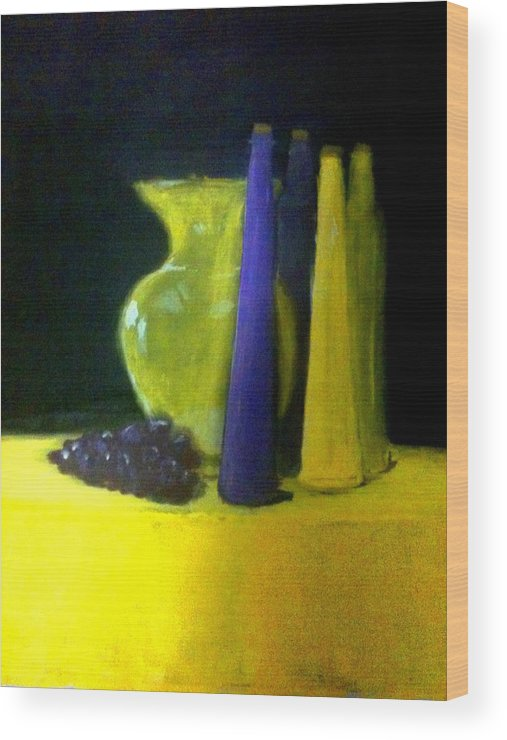 Purple Wood Print featuring the painting Purple And Yellow Still Life by Matthew Dean
