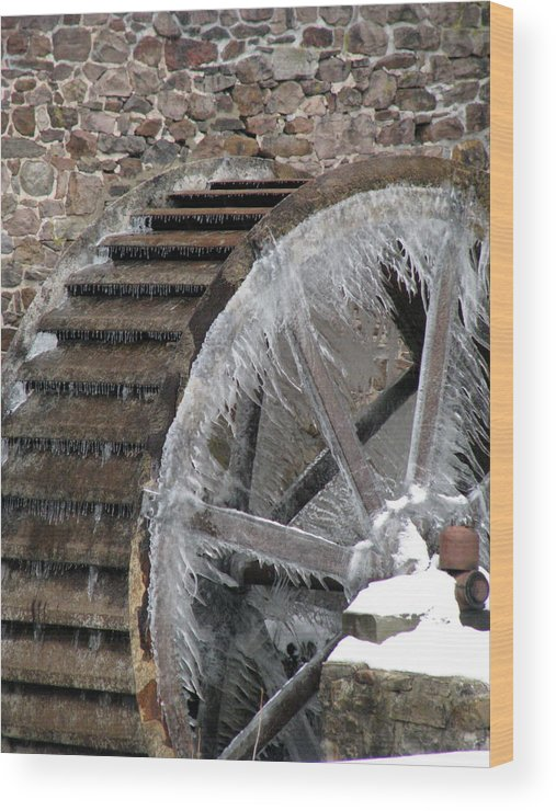 Grist Mill Wood Print featuring the photograph Red Mill In Winter IIi by Sheila Rodgers