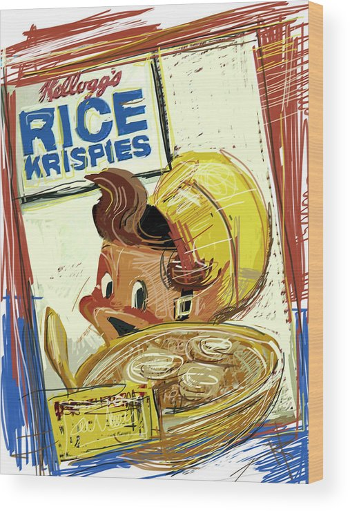 Rice Krispies Wood Print featuring the mixed media Rice Krispies by Russell Pierce