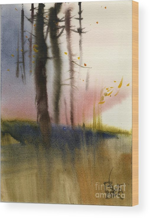 Landscape Wood Print featuring the painting Russian Landscape by Vyacheslav Glazkov