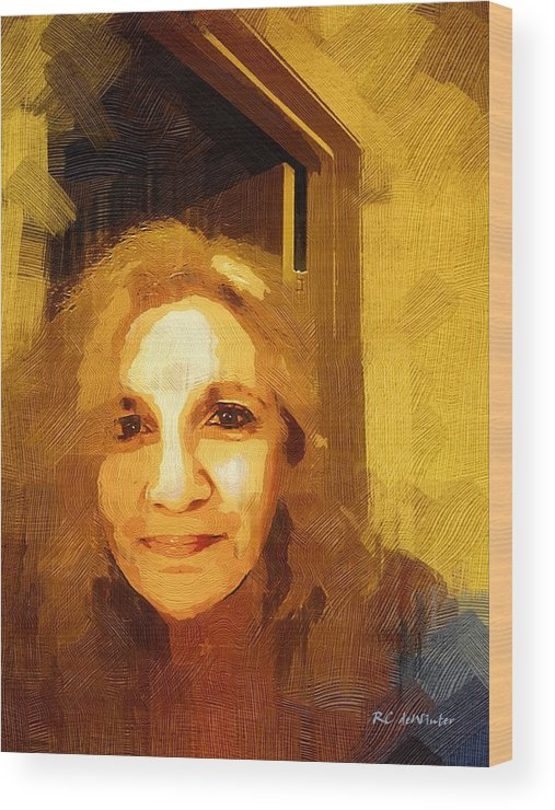 Contemporary Wood Print featuring the painting She Smiles Sweetly by RC DeWinter