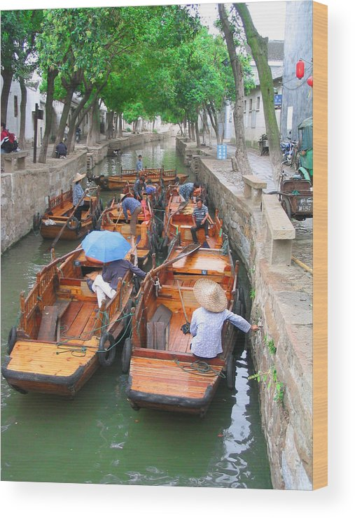 China Wood Print featuring the photograph Suzhou Canal Traffic Jam by Robert M Brown II