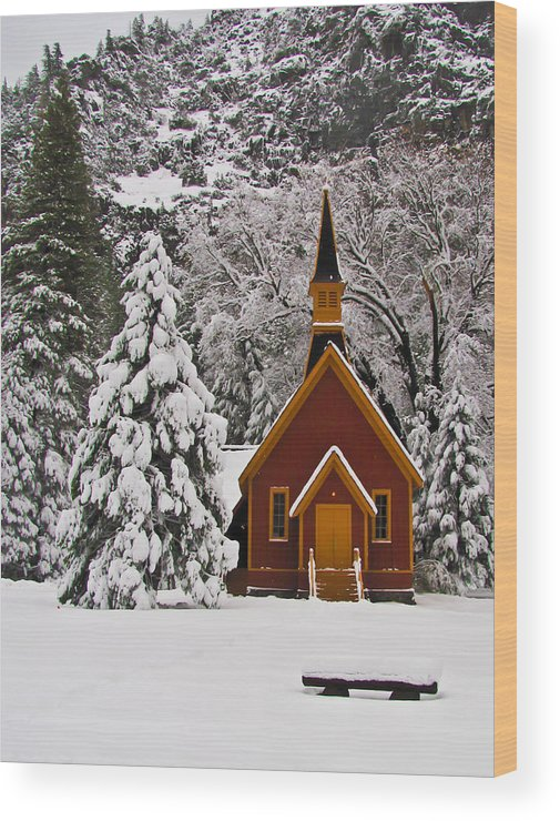 Yosemite Wood Print featuring the photograph The Chapel by Heidi Smith