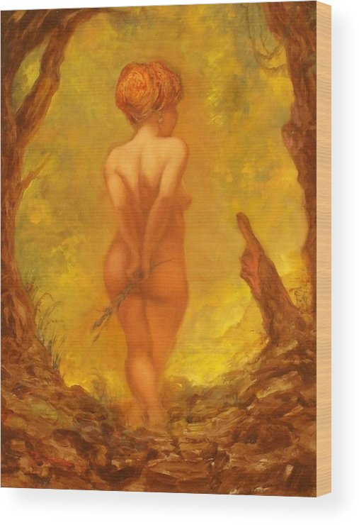 Nudes Wood Print featuring the painting The Fruit Thereof by Eric Bakke