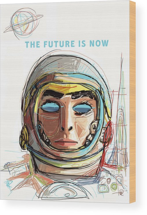 Astronaut Wood Print featuring the mixed media The Future Is Now by Russell Pierce