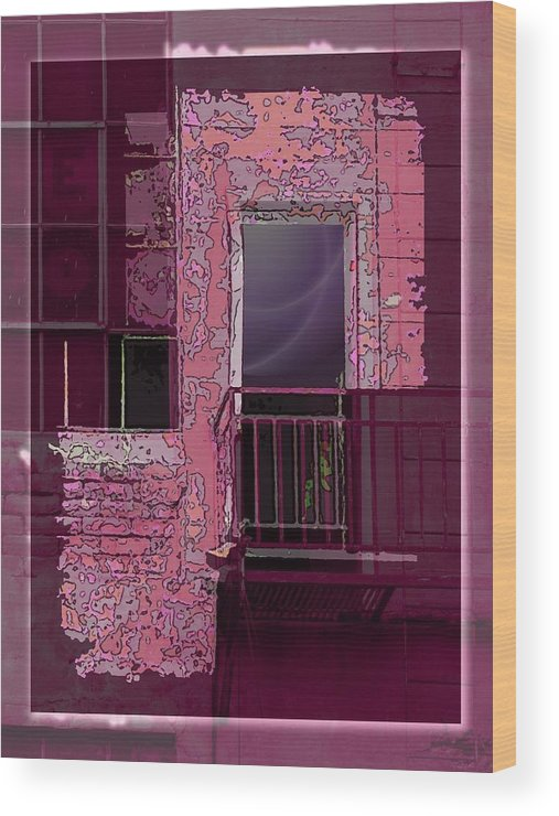 Fire Escape Wood Print featuring the digital art The Whispering by Tim Allen
