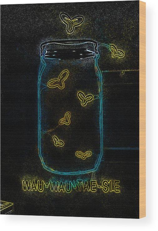 Wauwatosa Wood Print featuring the digital art Wauwatosa Neon by Geoff Strehlow