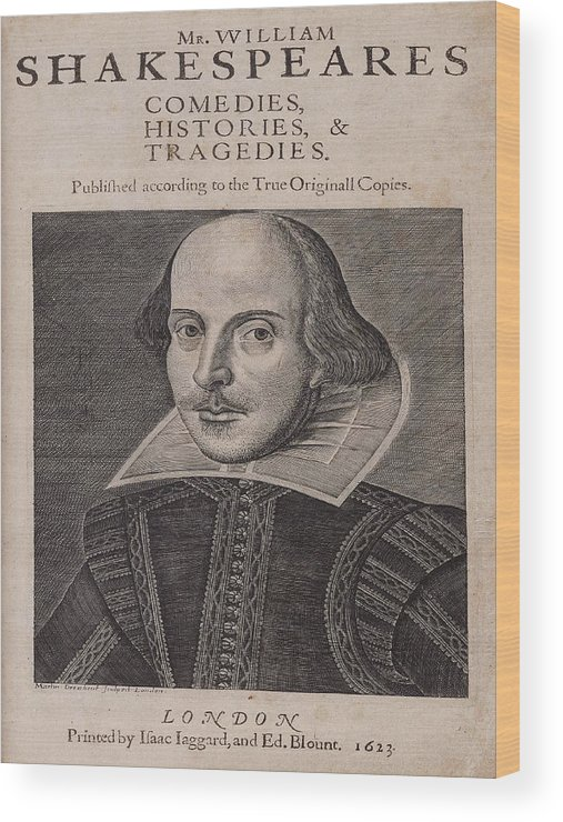 Rose Wood Print featuring the photograph William Shakespeare First Folio by Terry Lynch