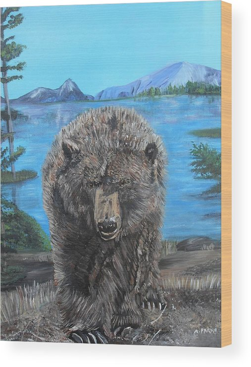 Grizzley Bear Wood Print featuring the painting Hello Grizzley Bear by Aleta Parks