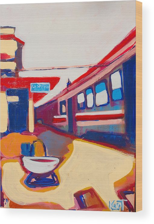 Train Station Wood Print featuring the painting Locale by Kurt Hausmann
