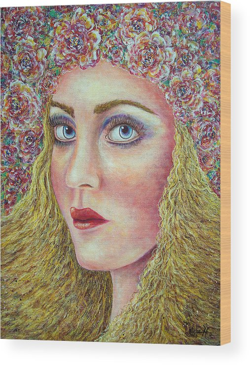 Woman Wood Print featuring the painting  The Flower Girl by Natalie Holland