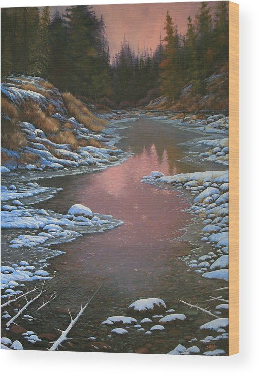 Landscape Wood Print featuring the painting 080210-3040 Early Morning Light - Winter by Kenneth Shanika