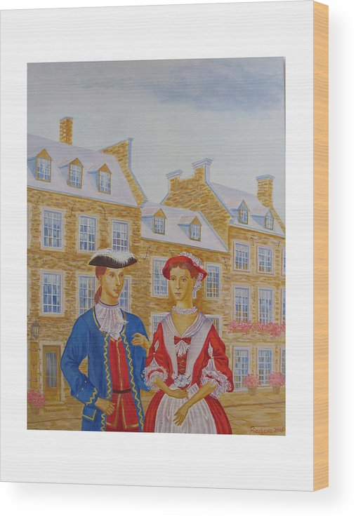 Figures Wood Print featuring the painting A Gentlemen With His Lady . by Natalia Piacheva