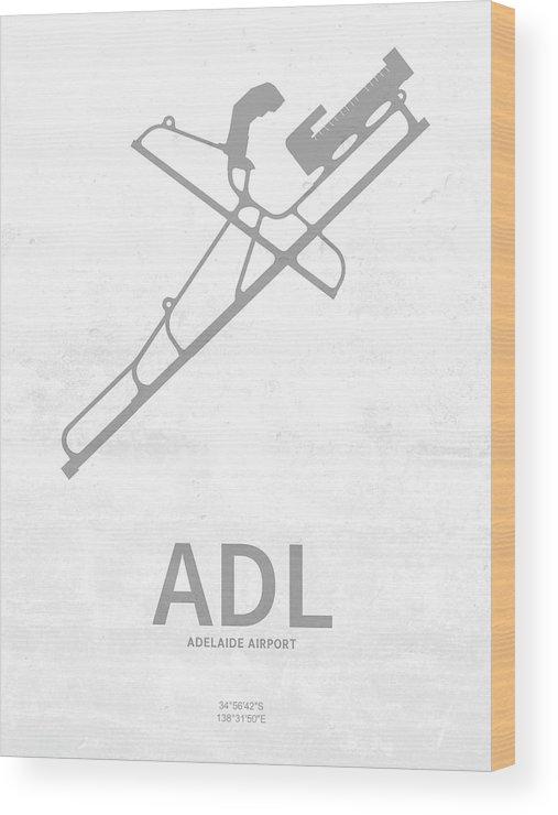 Silhouette Wood Print featuring the digital art Adl Adelaide Airport In Adelaide Australia Runway Silhouette by Jurq Studio