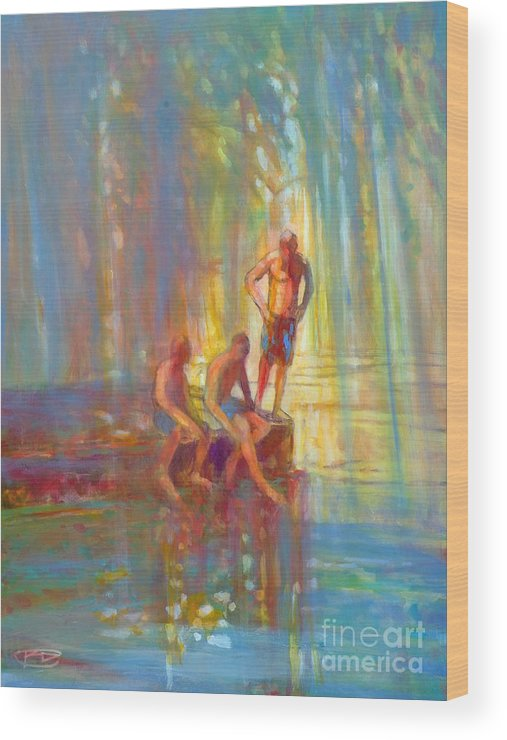 Swimmers Wood Print featuring the painting Before The Swim by Kip Decker