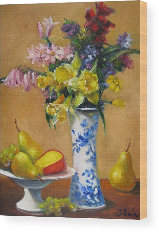 Still Life Wood Print featuring the painting Blue And White Vase by Susan Jenkins