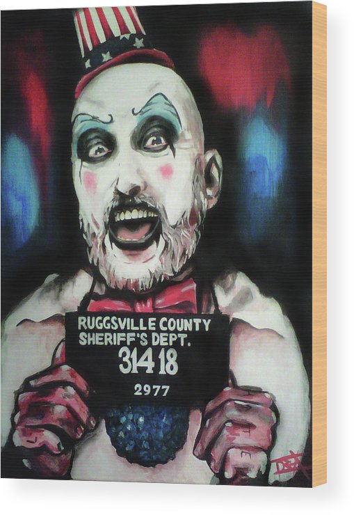 Captain Spaulding Wood Print featuring the painting Captain Spaulding by Danielle LegacyArts
