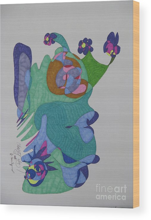 Mask Wood Print featuring the mixed media Christy's Jester by James SheppardIII