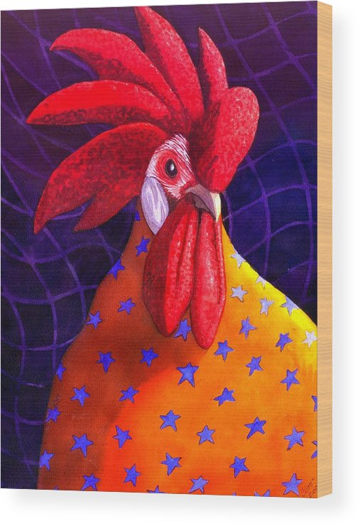 Rooster Wood Print featuring the painting Cock A Doodle Dude by Catherine G McElroy