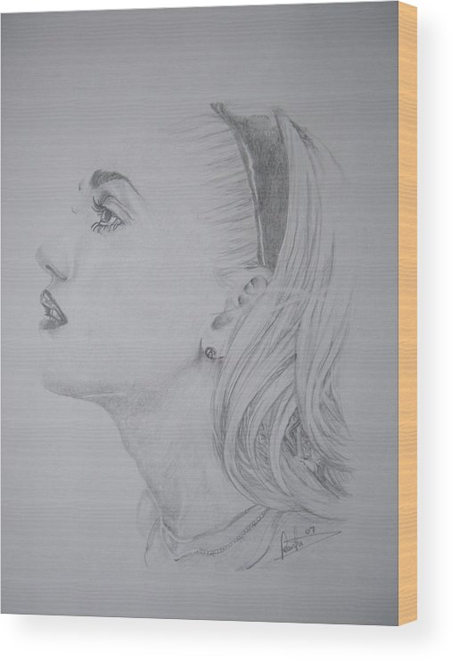 Celeb Portraits Wood Print featuring the drawing Gwen Stefani by Sean Leonard