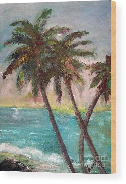Hawaiian Wood Print featuring the painting Hawaiian Palms by Jeanette Fowler
