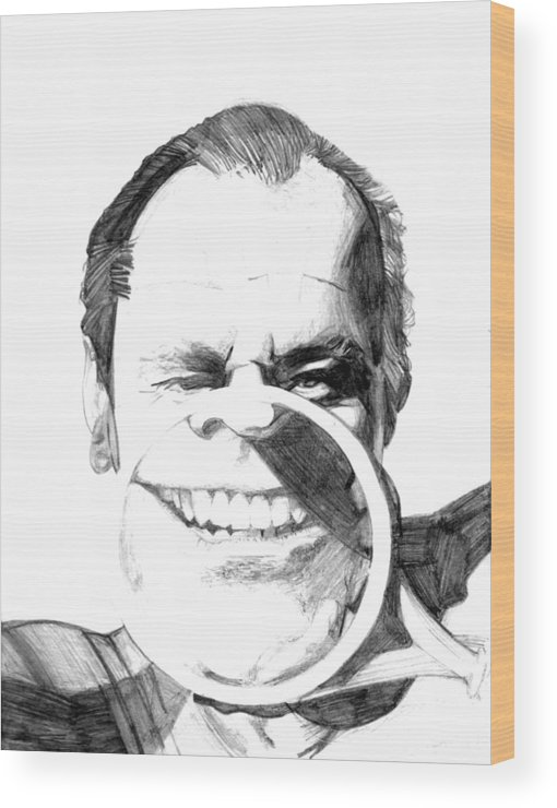 Jack Nicholson Wood Print featuring the drawing Jack by Brian Child