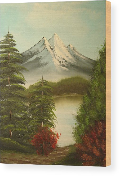 Oil Painting Wood Print featuring the painting Landscape by Modern Palette Art