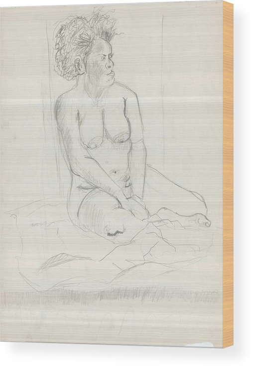 Wood Print featuring the drawing Life Drawing by Joseph Arico