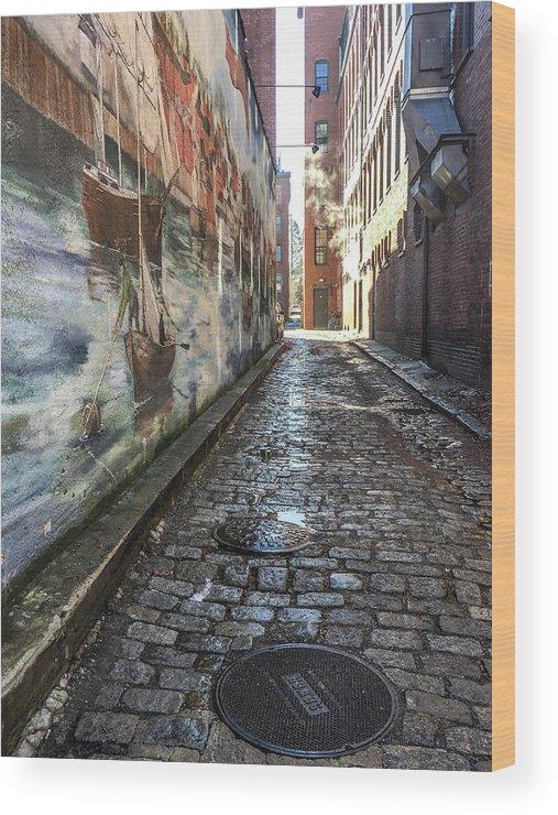 Mural Wood Print featuring the photograph Newburyport Alley by Susan Allen