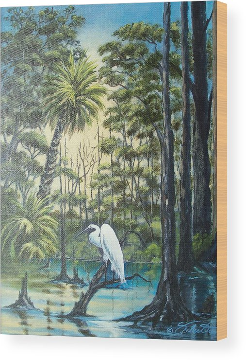 Landscape Wood Print featuring the painting Only The Lonely by Dennis Vebert