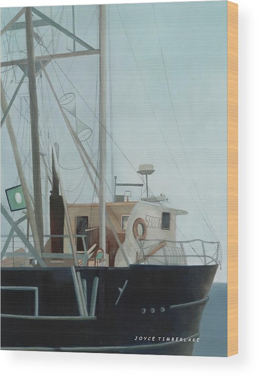 Work Boats Wood Print featuring the painting Scallop Boat by Joyce Timberlake