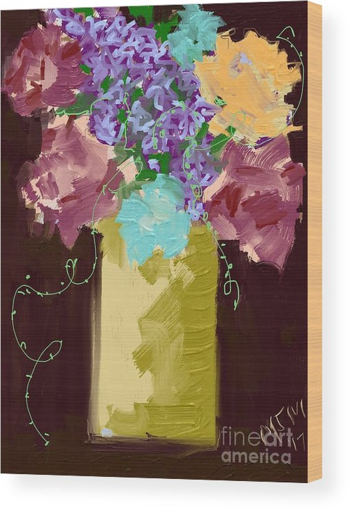#dark Sienna #floral #tendrils #art Set Art #mixed Media Digital Wood Print featuring the digital art Sienna Floral by Mary Jane Mulholland