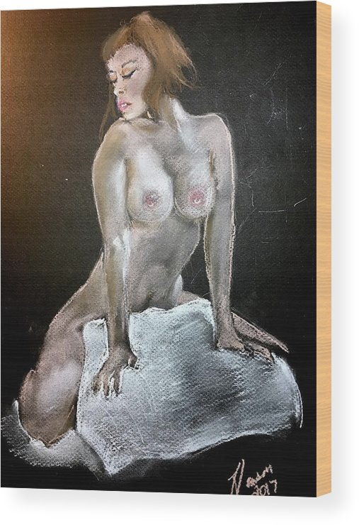 Portrait Wood Print featuring the pastel Spotlight by James Henderson